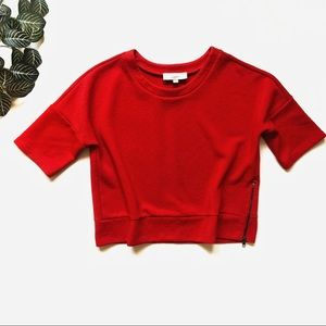 Loft Red Jacquard Short Sleeve Sweatshirt Size M